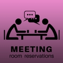 "a digital drawing of two people sitting at a table talking and drinking coffee captioned ""meeting room reservations"""