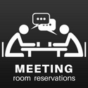 """a digital drawing of two people sitting at a table talking and drinking coffee captioned """"Meeting room reservations"""""""