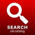 """image of a magnified glass captioned """"Seach osl catalog"""""""