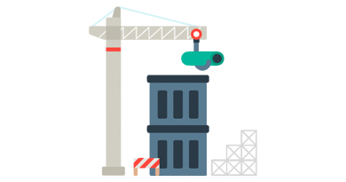 Digital drawing of crane building a building