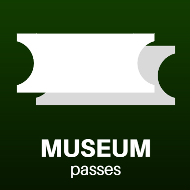 museum passes icon. white tickets over green background