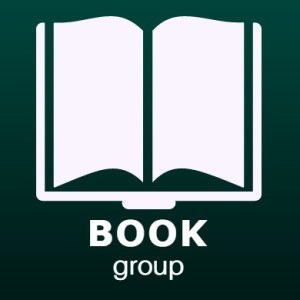book group icon. white book over green background