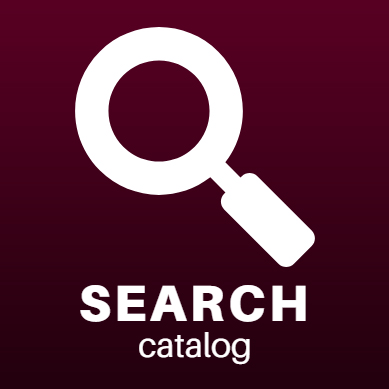 search catalog icon. white magnifying glass over dark red background