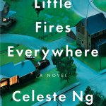 'Little Fires Everywhere' by Celeste Ng book cover arial shot of a suburb at dusk