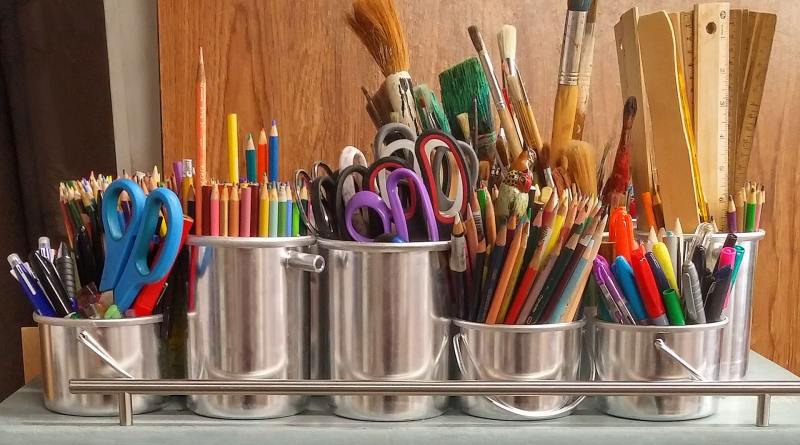 Makers--pencils-in-stainless-steel-bucket