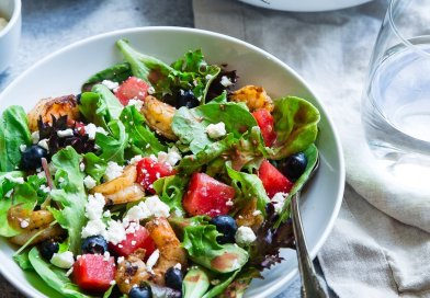 salad in bowls with dressing