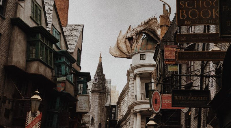 buildings on the street in harry potter