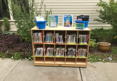 a bookcase filled with books on the side walk in the couryard