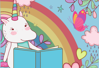 unicorn reading a book rainbow butterfly hearts