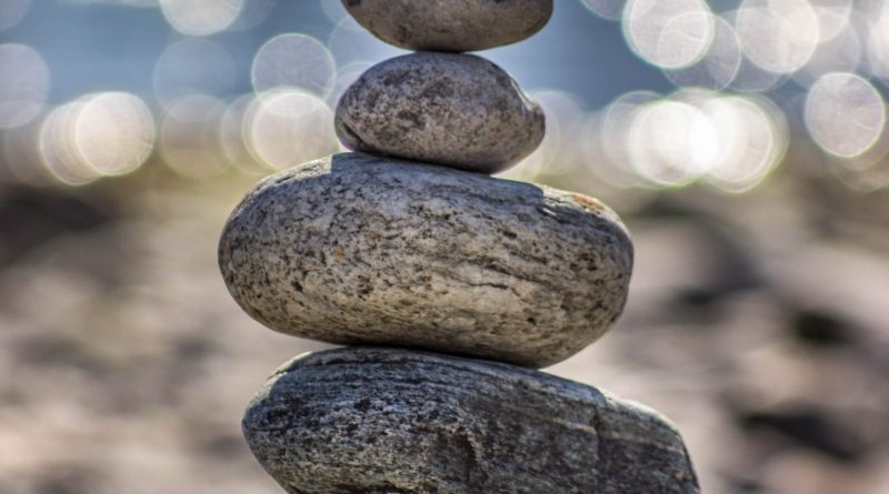 stacked rocks at the beach