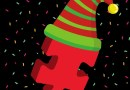 red puzzle piece with a holiday hat on floating in space sprinkles