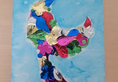 Mermaid Tale Wall Art blue background watercolor shiny multi color collage pieces form a tail