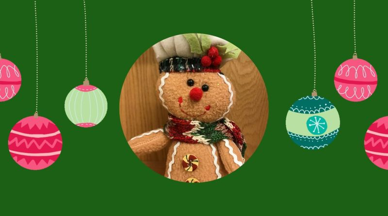 jolly the ginger bread cookie green backdrop ornaments