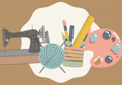 The Makers Meet-up logo consisting of a sewing machine, ball of yarn, art supplies
