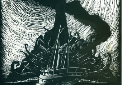 alertco black and white drawing a monster with tentacles attacking a boat out on the sea