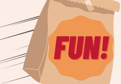 a paper bag labelled fun flying through the air