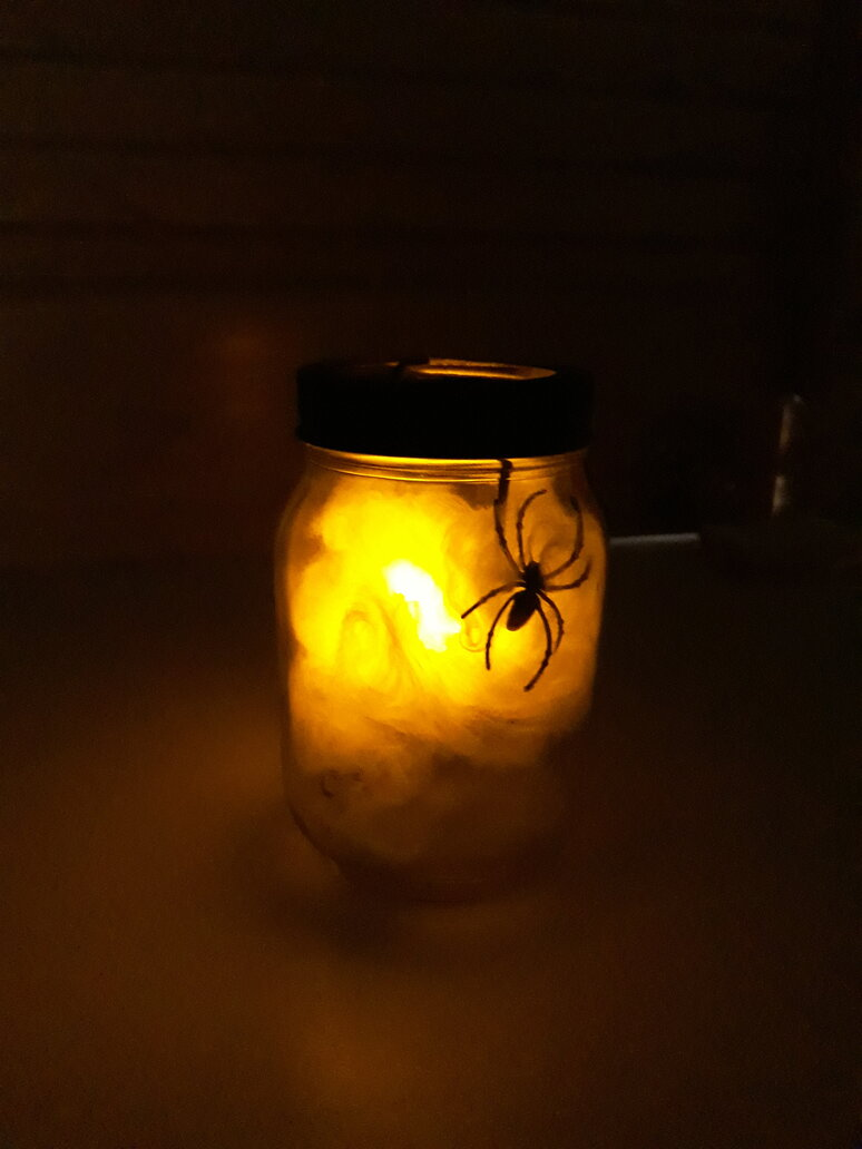 Spider and web inside a jar spooky craft