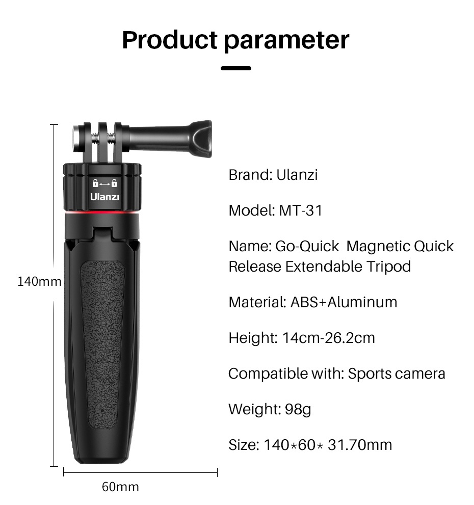 Ulanzi Mt-31 Magnetic Quick Release Tripod for GoPro india tiyana 7