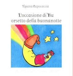 luna disegnata con arcobaleno e bambino che dorme