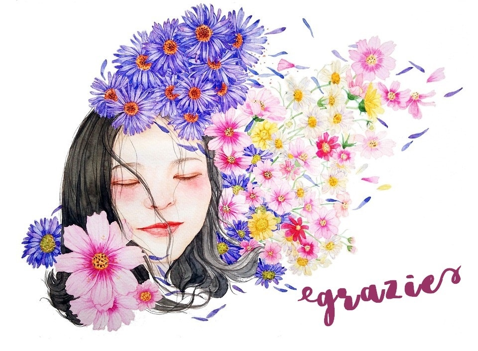 viso femminile disegnato e fiori
