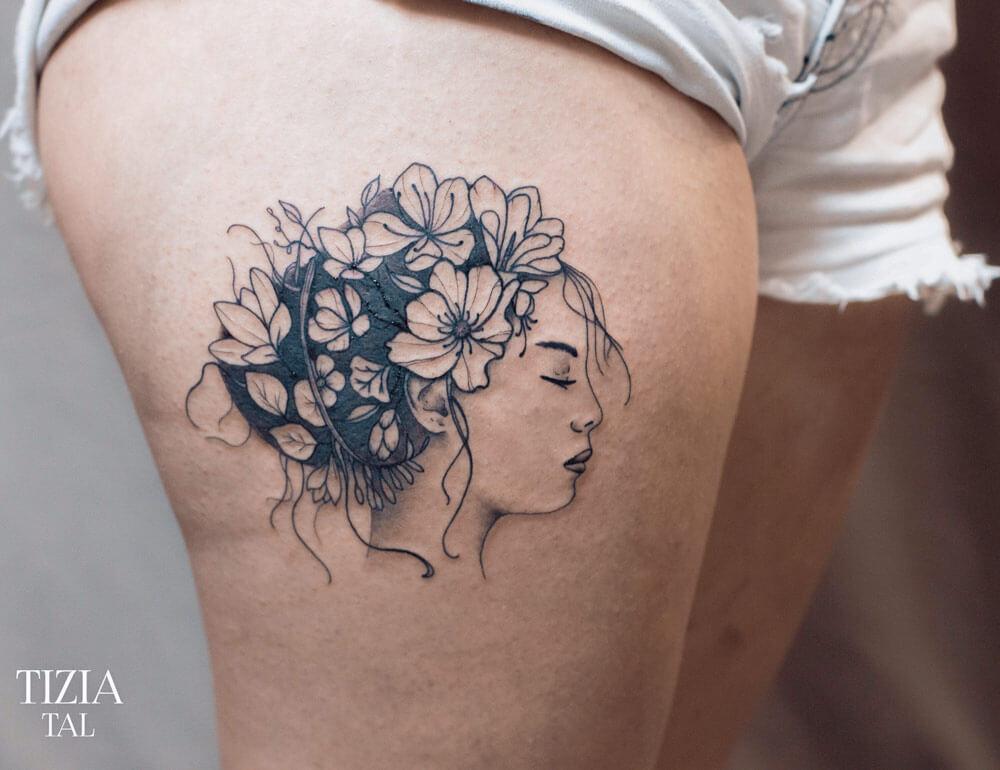 Tattoo-femme-cuisse-fleur