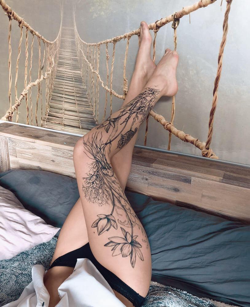 tattoo-jambe-fleur-ornemental