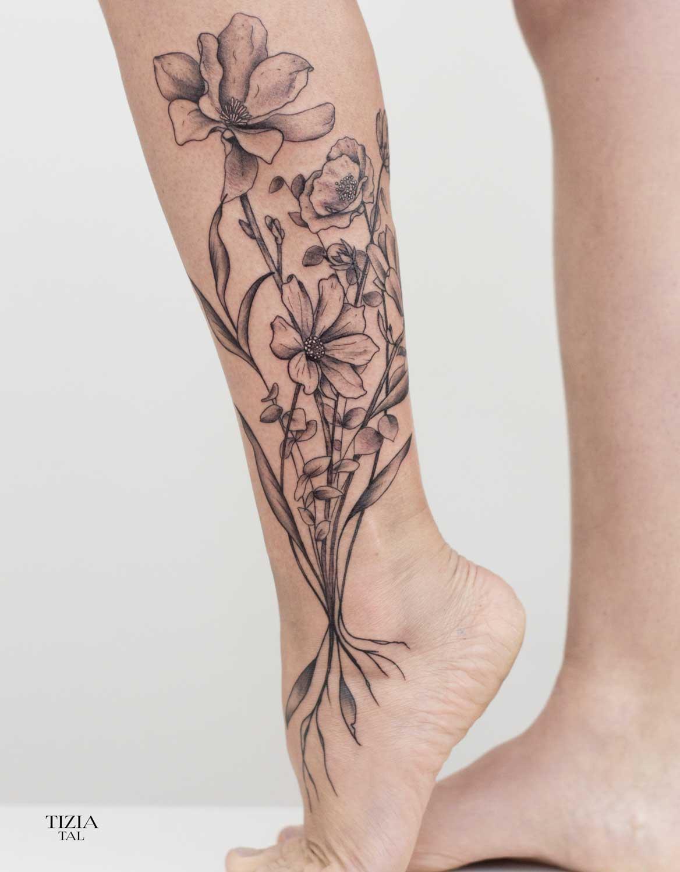 tattoo-fleurs-bouquet-mollet