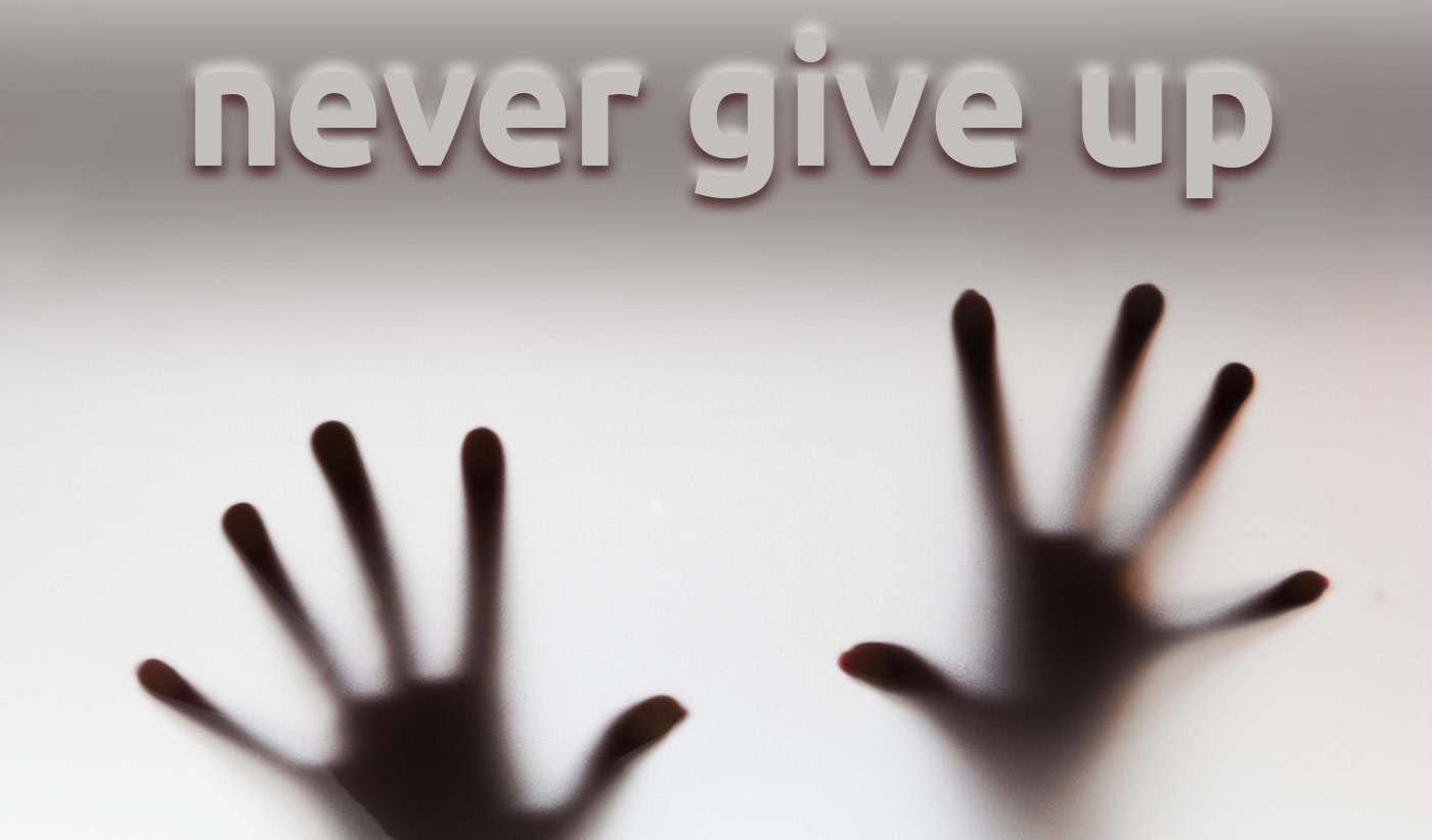 daily inspirational quote image: 2 hands leaning on a wall of opaque glass