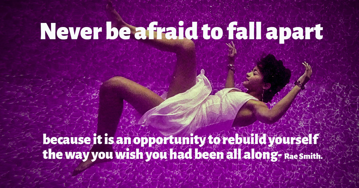 daily inspirational quote image: woman falling underwater