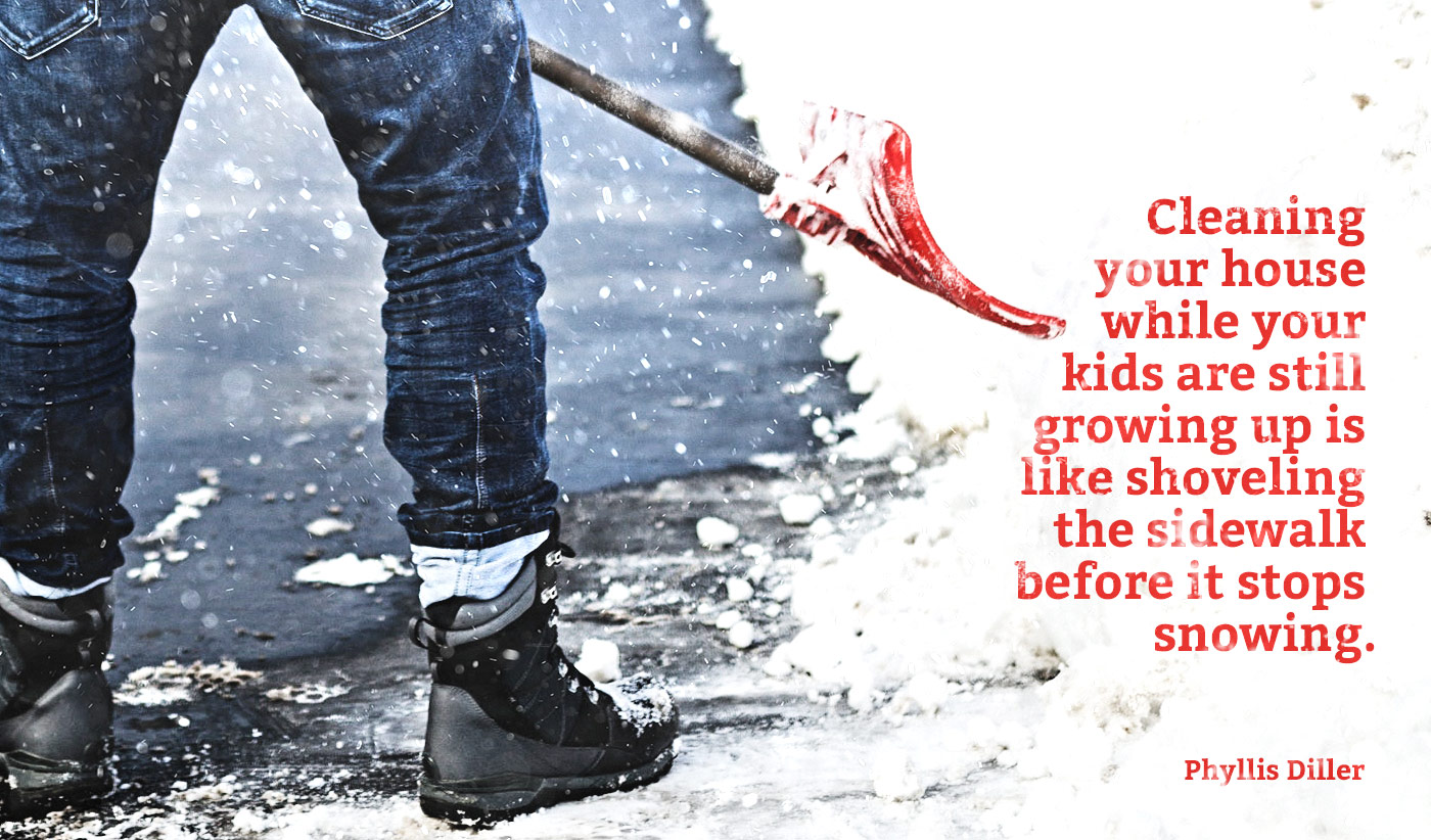 daily inspirational quote image: a man shoveling snow with a red shovel, seen from behind