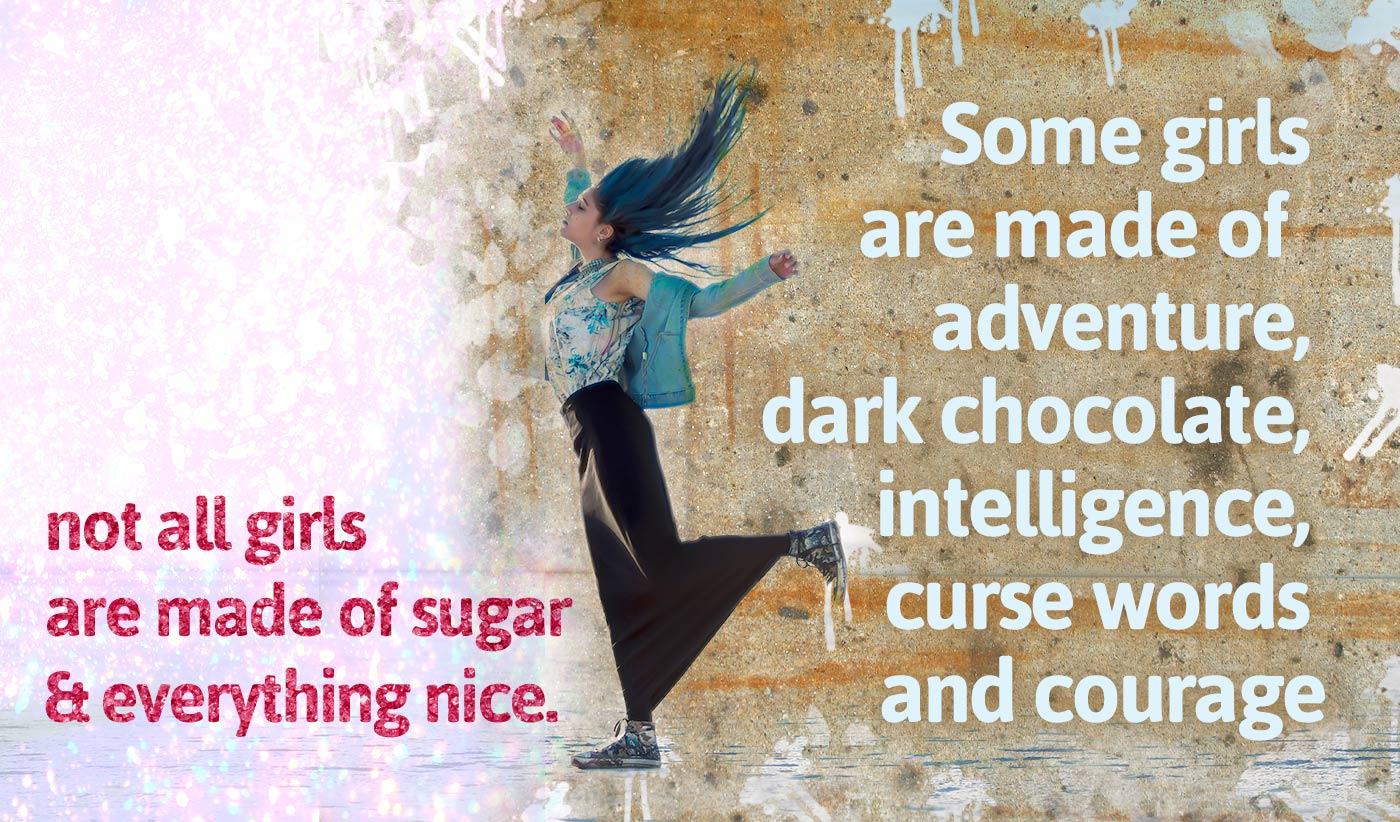 daily inspirational quote image: a girl with blue hairs, a jeans jacket and long skirt and sneakers, is dancing