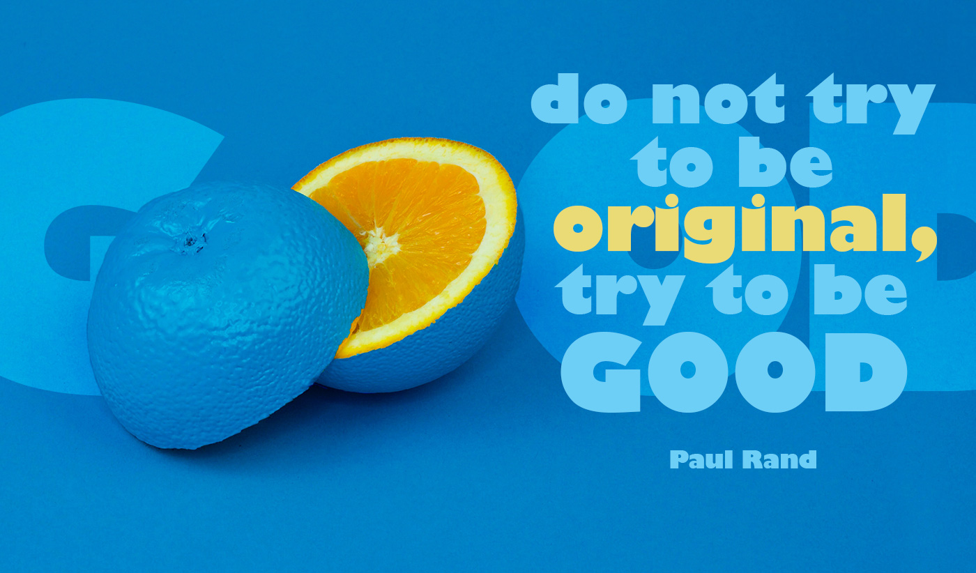 daily inspirational quote image: a sliced orange, whose rind has been painted bright blue