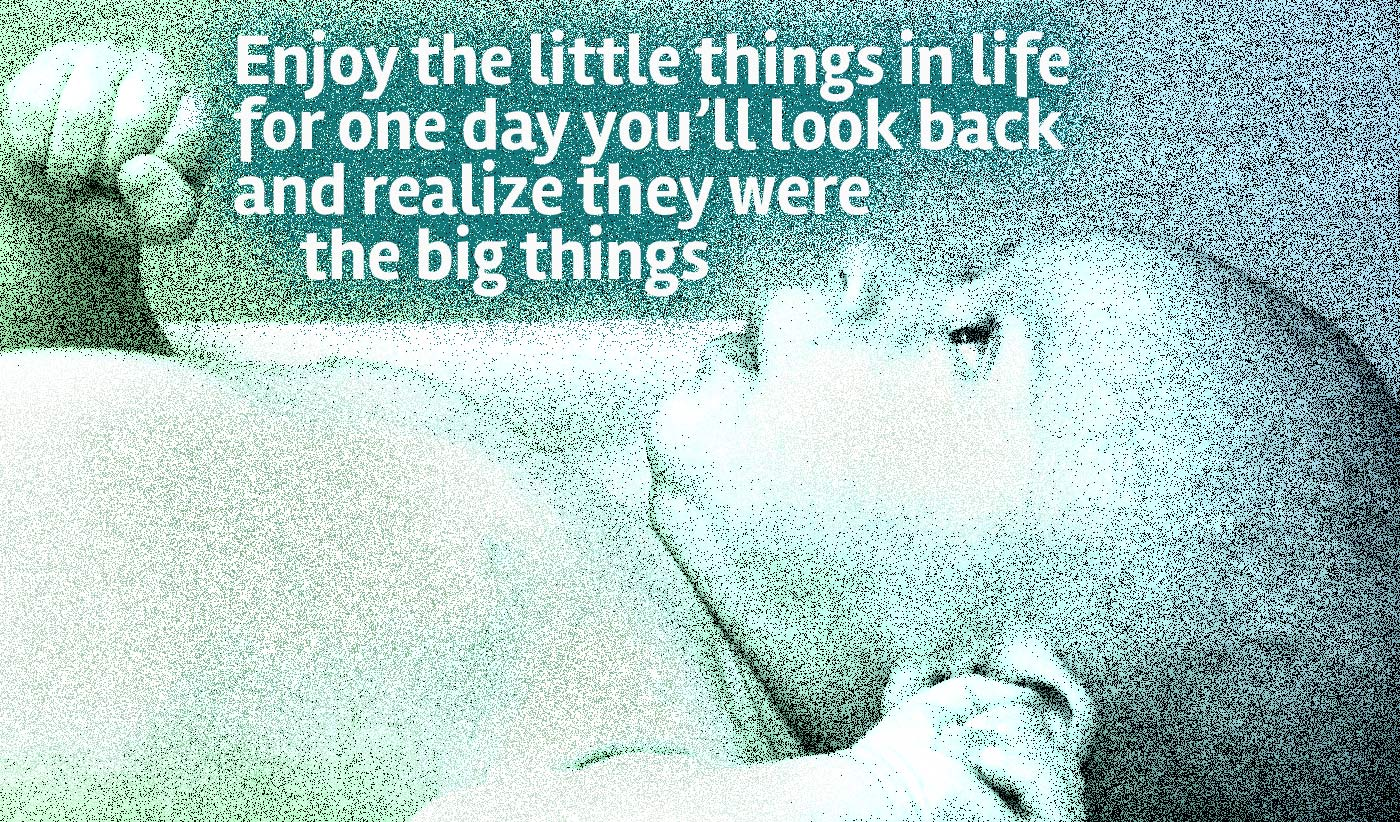 daily inspirational quote image: close up of a baby lying down and looking up