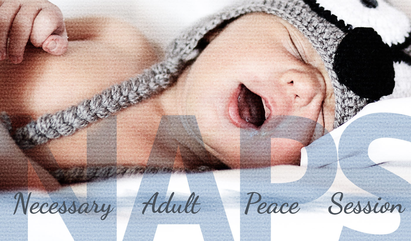 daily inspirational quote image: a cute baby sleeping with the mouth open, and wearing a knitted hat