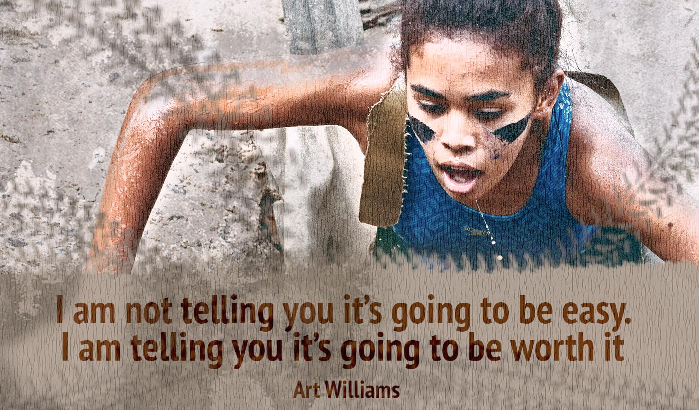 daily inspirational quote image: a young woman with war paint climbing