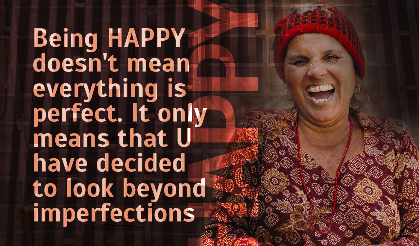 daily inspirational quote image: a middle aged woman laughing wearing a maroon dress
