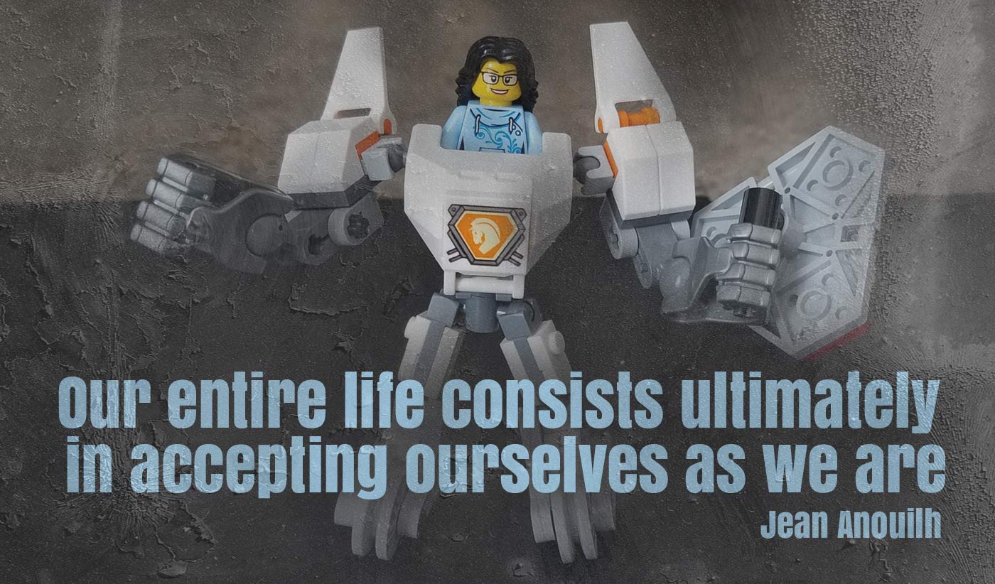 daily inspirational quote image: a Lego mini figure of a female, wearing glasses on board of a super-powered Nexo Knight