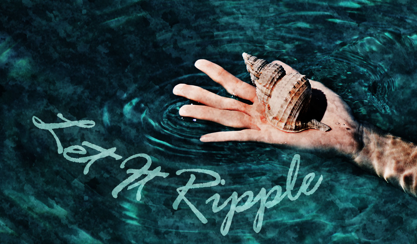 daily inspirational quote image: a hand holding a beautiful shell over the water