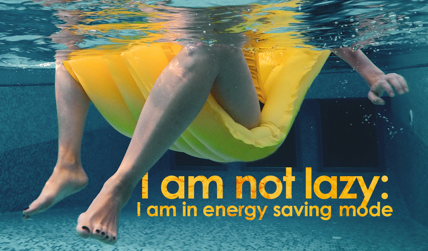 daily inspirational quote image: underwater view of a person sitting on an inflatable lounger