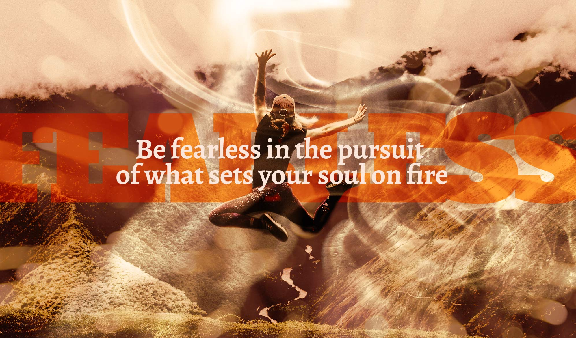 inspiration quote image: a person joyously jumping on a high cliff with surreal lighting