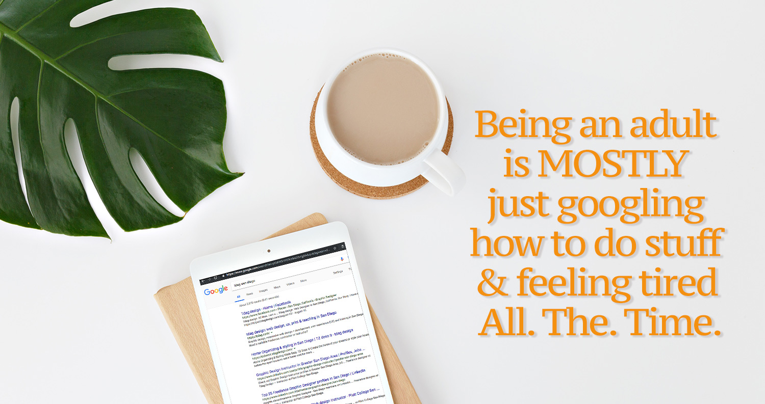 daily inspirational quote image: top view on an immaculate desk with a monstera leaf, a white tablet and a cup of coffee