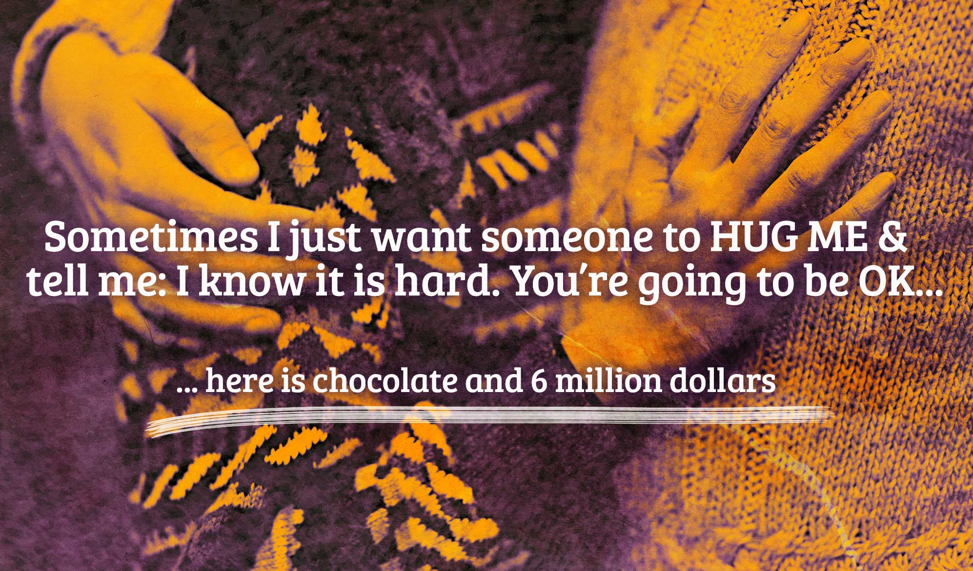 daily inspirational quote image: close up of 2 people hugging, tinted in orange and purple tones