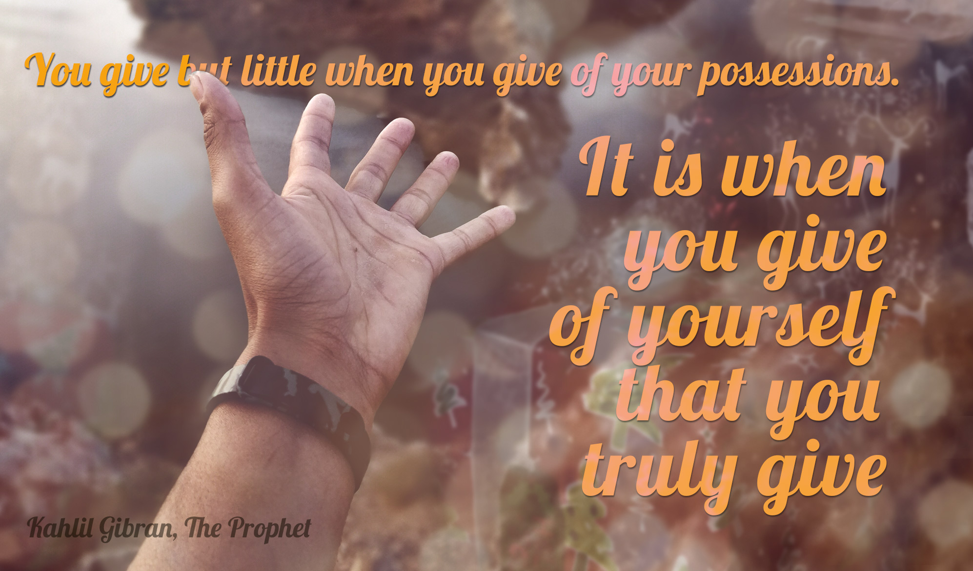 daily inspirational quote image: outstretched hand over a blurry background