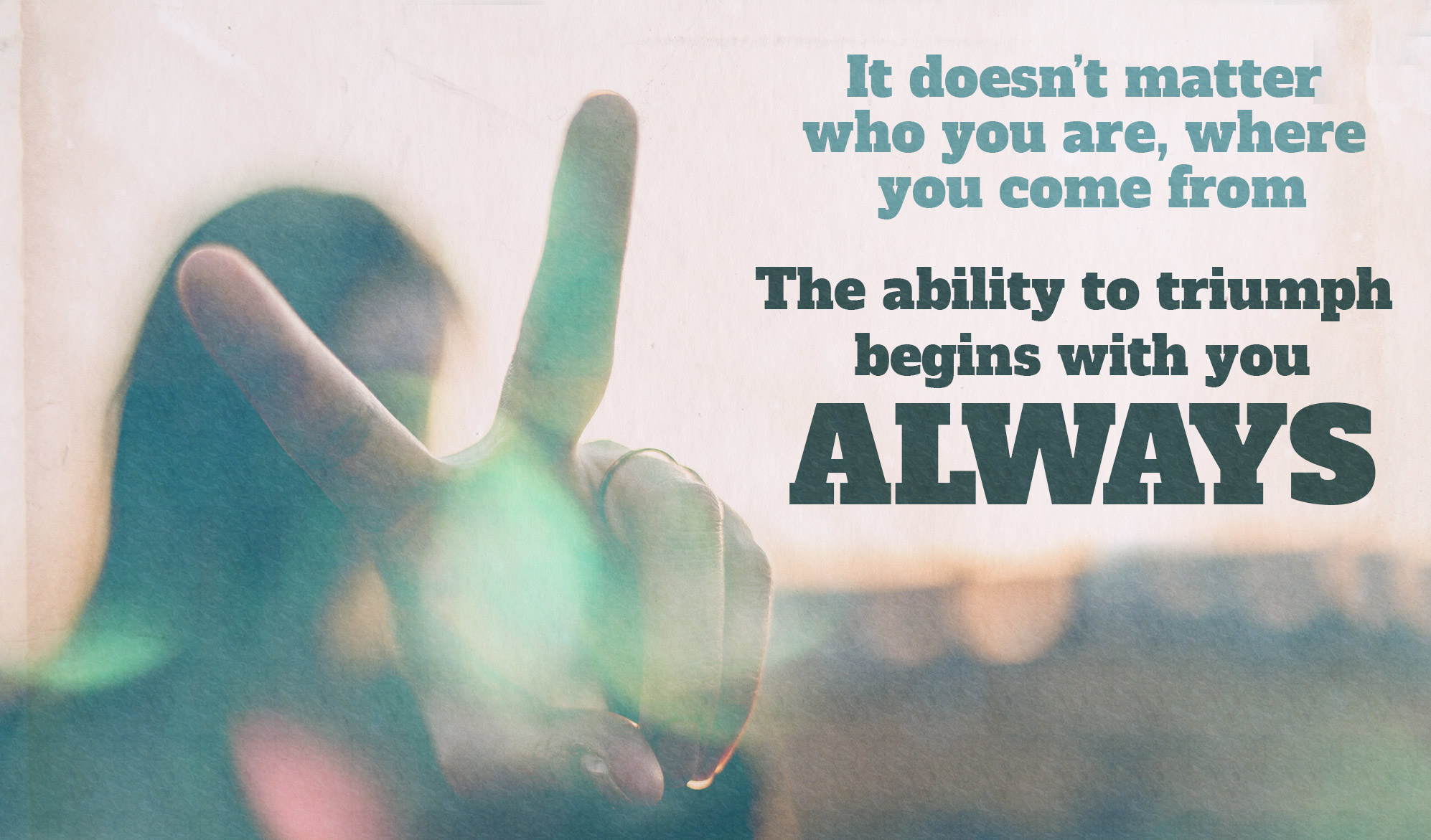 daily inspirational quote image: closed up of a hand flashing the victory sign