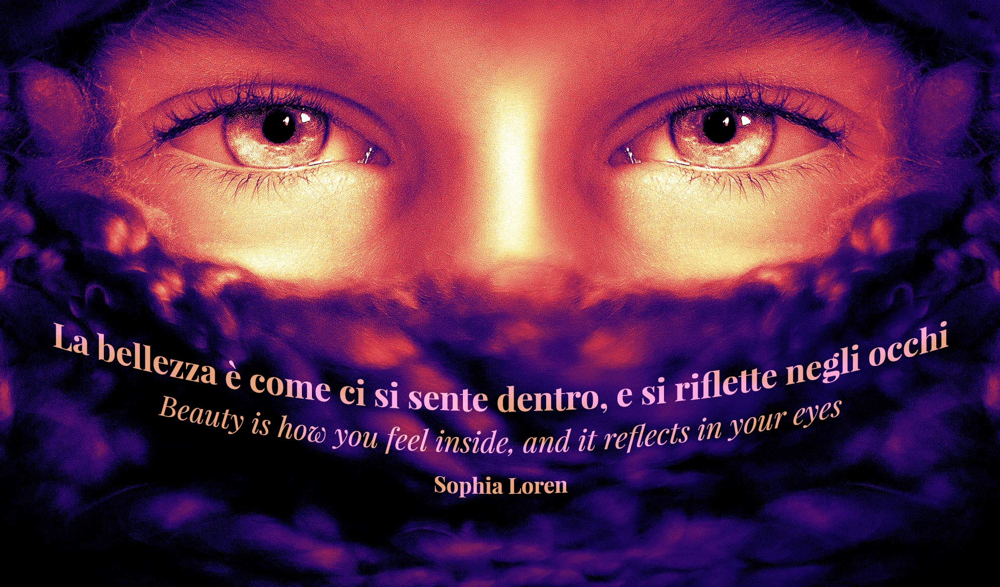 daily inspirational quote imahe: close up on a person's eyes, bathed in purple and orange light