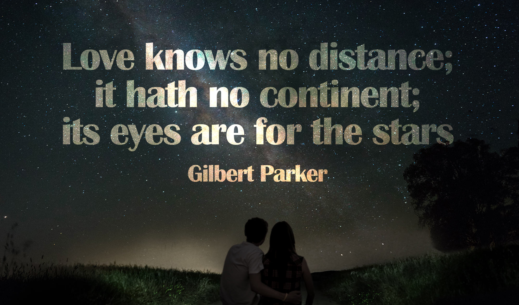 daily inspirational quote image: a couple looking up to the milky way