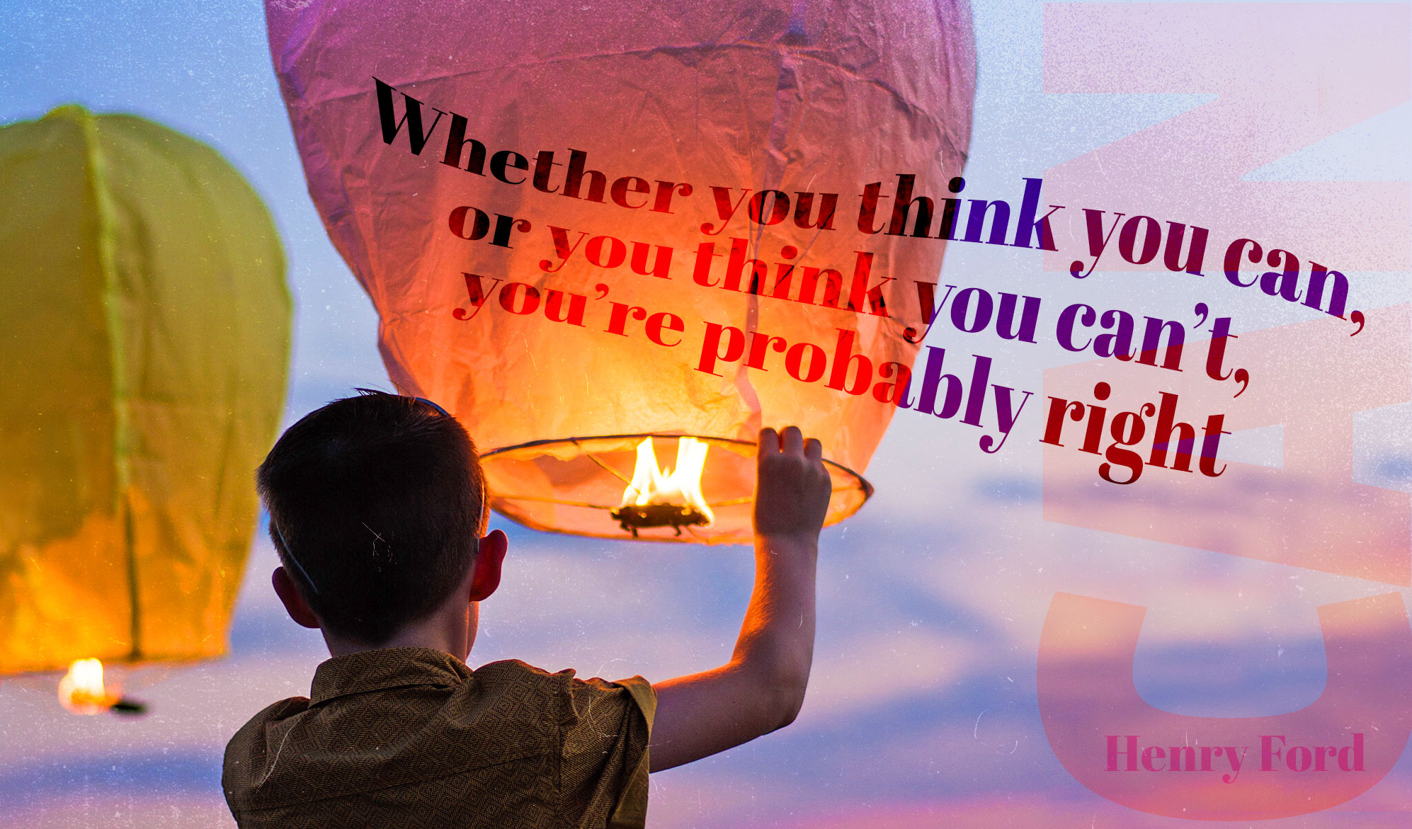 daily inspirational quote image: a boy ready to launch a paper lantern in the sky