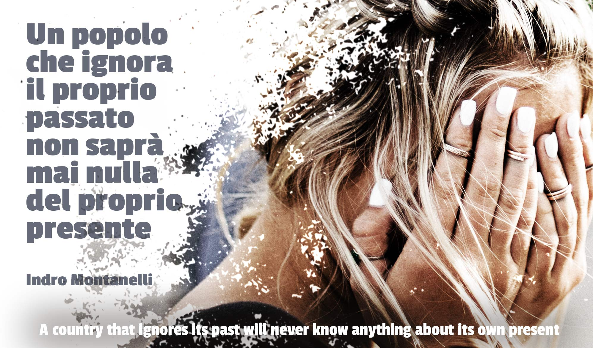 daily inspirational quote image: a woman covering her face with her hands while her background disintegrates
