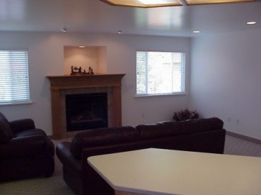 Family room addition showing fireplace with alcove above