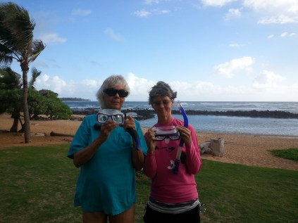 Judy and I at Lydgate Beach. That rock wall kept the swells out.